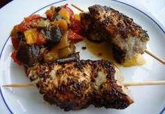 Brochettes de veau et ratatouille